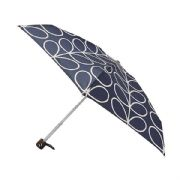 Orla Kiely Tiny 2 Linear Leaf Navy Flat Compact Lightweight Umbrella by Fulton